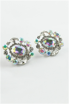 Floral Crystal Accent Filigree Stud Earrings E1773