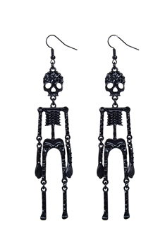 Skull and Crystal Earring E1897 - Black