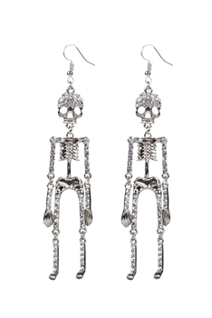 Skull and Crystal Earring E1897 - Silver