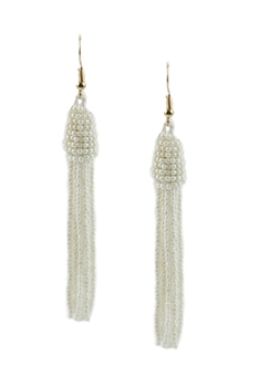 Fashion Elegant Beaded Tassel Long Drop Earrings E2033