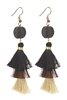 Women Fashion Vintage Long Tassel Drop Earrings E2064 - Brown