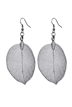 Fashion Real Natural Filigree Leaf Shaped Earrings E2087 - Black