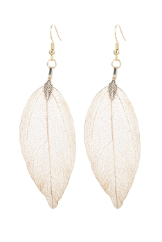 Fashion Real Natural Filigree Leaf Shaped Earrings E2087 - Gold