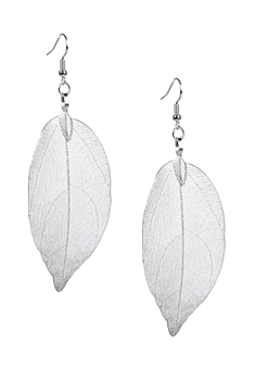 Fashion Real Natural Filigree Leaf Shaped Earrings E2087 - Silver