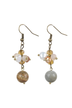 Amazonite Picture Jasper Stone Drop Crystal Earrings E2097