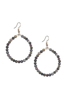 Stone Drop Earrings E2098 - Black Grassy Jasper