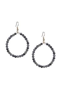 Stone Drop Earrings E2098 - Black Labradorite