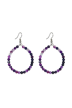 Stone Drop Earrings E2098 - Dog Teeth Amethyst