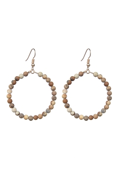 Stone Drop Earrings E2098 - Picture Jasper