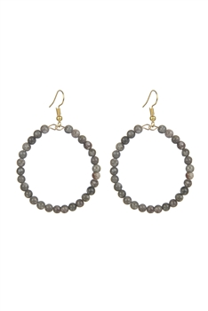 Stone Drop Earrings E2098 - Rice Wheat Stone