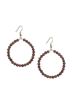 Stone Drop Earrings E2098 - Sesame Red
