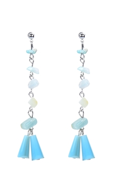 Classic Gravel Stone Crystal Long Earrings E2099