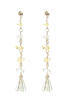 Classic Gravel Stone Crystal Long Earrings E2099 - Champagne
