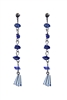 Classic Gravel Stone Crystal Long Earrings E2099 - Navy