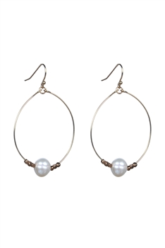 Fashion Women White Pearl Hoop Drop Earrings E2117