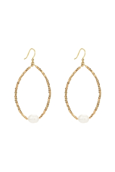 Fashion White Pearl Crystal Statement Earrings E2119 - Gold