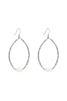 Fashion White Pearl Crystal Statement Earrings E2119 - Silver