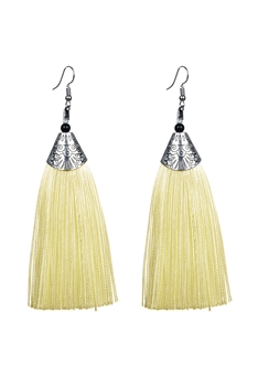 Fashion Bohemian Women Silk Tassel Drop Earrings E2121 - Beige