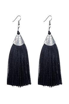 89fead2176cd32 Fashion Bohemian Women Silk Tassel Drop Earrings E2121 - Black