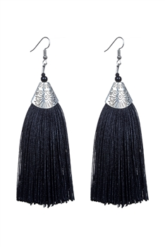 Fashion Bohemian Women Silk Tassel Drop Earrings E2121 - Black