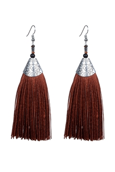 Fashion Bohemian Women Silk Tassel Drop Earrings E2121 - Brown
