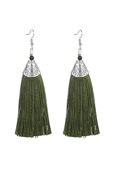 Fashion Bohemian Women Silk Tassel Drop Earrings E2121 - Green