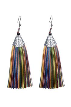 Fashion Bohemian Women Silk Tassel Drop Earrings E2121 - Multi