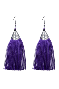 Fashion Bohemian Women Silk Tassel Drop Earrings E2121 - Purple