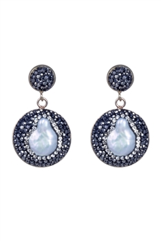 Elegant Women White Pearl Crystals Stud Earrings E2123