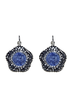 Women Druzy Stone Flower Pattern Earrings E2125