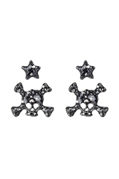 Skull with Star Stud Earrings Set E2131 - Gun Metal