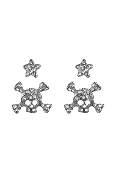 Skull with Star Stud Earrings Set E2131 - White