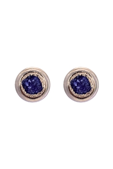Stone Metal Stud Earrings E2138 - Purple