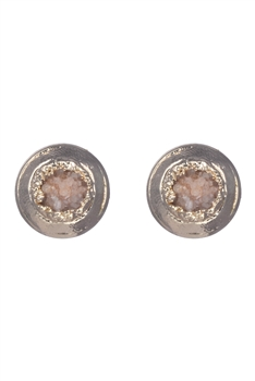 Stone Metal Stud Earrings E2138 - Brown