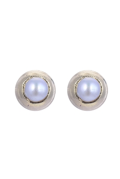 Elegant Women White Pearl metal Stud Earrings E2139