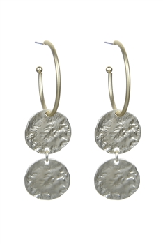 Women Metal Round Hoop Drop Earrings E2152