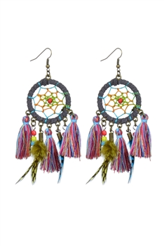 Women Bohemian Ethnic Circle Tassel Drop Dangle Earrings E2170