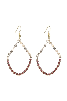 Bohemian Chain Stitching Crystal Earrings E2171 - Red