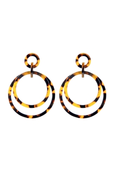 Fashion Brown Tortoiseshell Hoop Earrings E2174