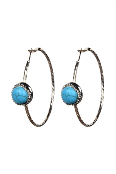 Fashion Women Stone Hoop Metal Dangle Earrings E2175