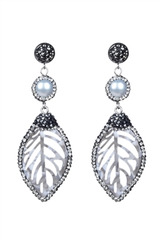 Fashion Women White Pearl Leaves Dangle Earrings E2180