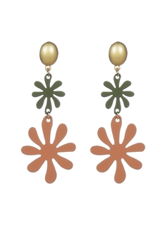 Fashion Women Orange Flower Metal Stud Earrings E2187