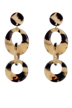 Women Circle Round Hoops Statement Stud Earrings E2190 - Champagne