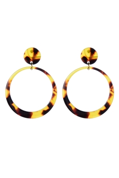 Trendy Women Brown Hoop Circle Stud Earrings E2193