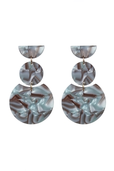 Fashion Women Brown Tortoiseshell Earrings E2195 - Grey