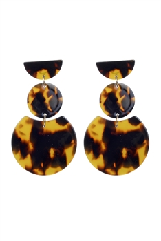 Fashion Women Brown Tortoiseshell Earrings E2195 - Brown