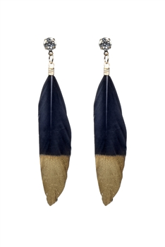Bohemian Women Feather Crystal Stud Earrings E2198