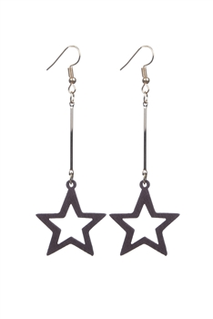 Fashion Wooden Star Shaped Long Dangle Earrings E2199