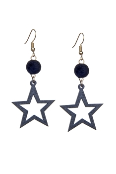 Fashion Women Wood Stat Beads Drop Earrings E2200