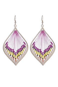 Women Ethnic Sector Beads Dangle Drop Earrings E2211